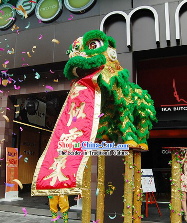 Green Top Chinese Competition and Celebration Lion Dance Costume Complete Set for Two Dancers