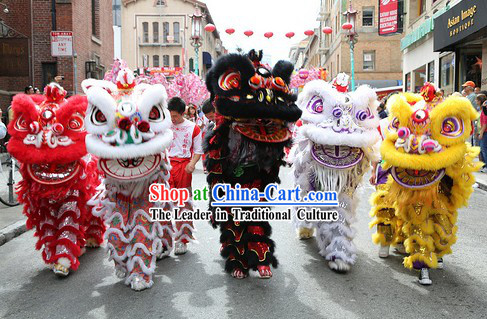 Supreme Chinese Traditional Lion Dance Costume Five Sets