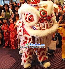 Red and White Chinese Celebration Lion Dance Costumes Two Sets