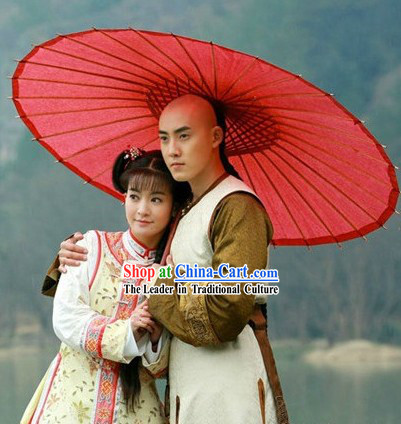 Qing Dynasty Lover Couple Robe Clothing and Red Big Umbrella Set