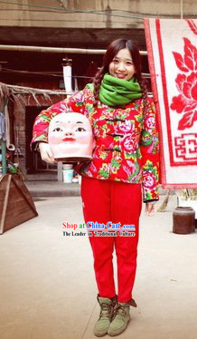 Red Chinese New Year Customs Traditional Clothing and Pants for Girls