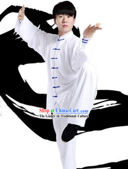 Traditional Chinese Pure White Taiji and Gongfu Outfit for Men