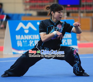 Black International Martial Arts Short Sleeves Competition Uniform for Women