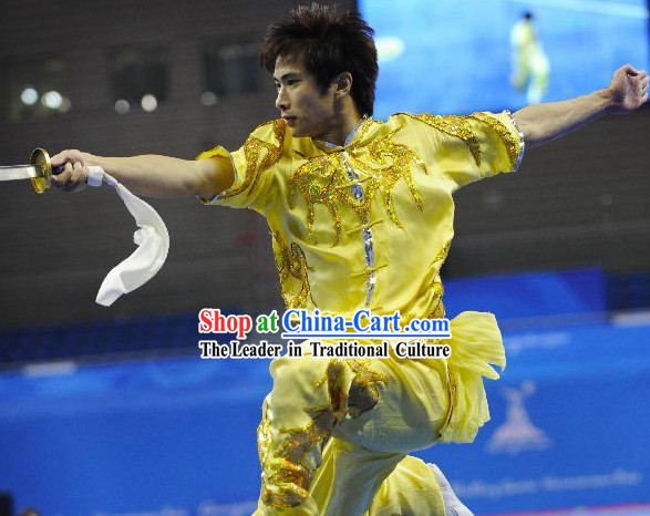Yellow Short Sleeve Long Sword Kung Fu Contest Uniform for Men