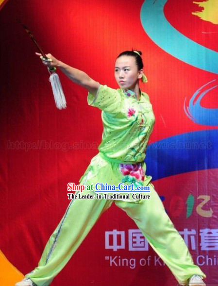 Supreme Green Embroidered Lotus Martial Arts Uniforms for Women