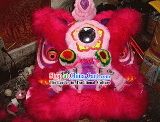 Supreme Red and Pink Long Wool Lion Dance Head and Tail Complete Set