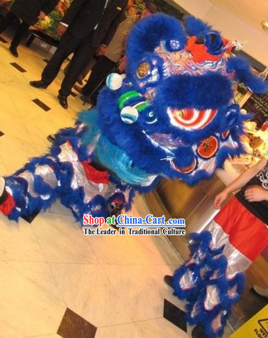 Supreme Blue and Silver Long Wool Lion Dance Costumes Full Set