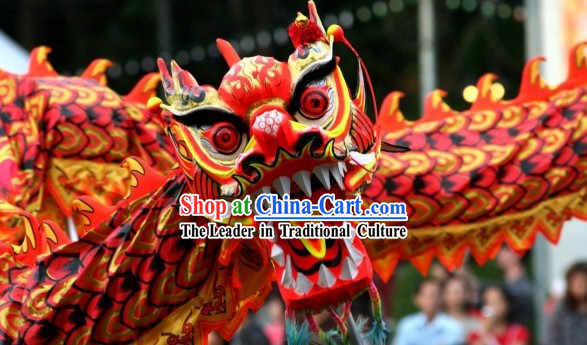 Professional International Competition Fluorescent Dragon Dancing Costumes for Ten Dancers