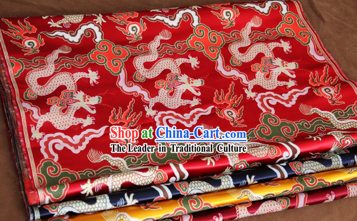 Red Traditional Chinese Dragon Pattern Tibetan Cloth Fabric
