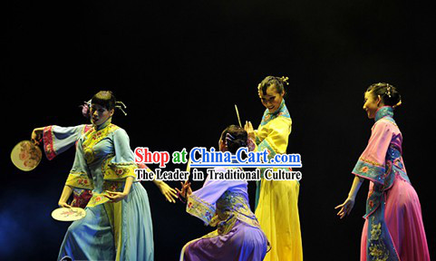 Traditional Chinese Fan Dancing Costumes Complete Set
