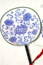 Chinese Classical Blue and White Porcelain Performance Fan