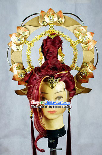 Chinese Classic Stage Performance Wig and Accessories for Men