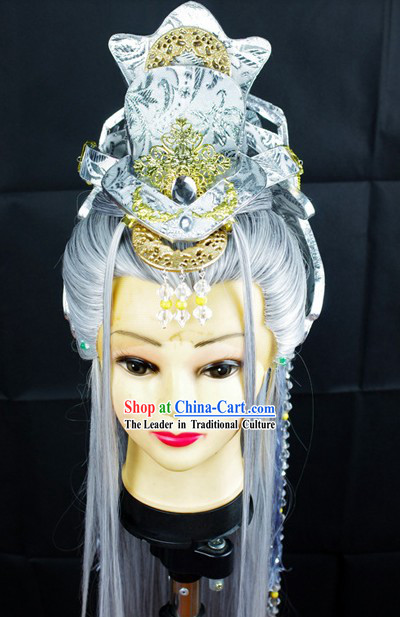 Ancient Chinese White Wig and Accessories for Men