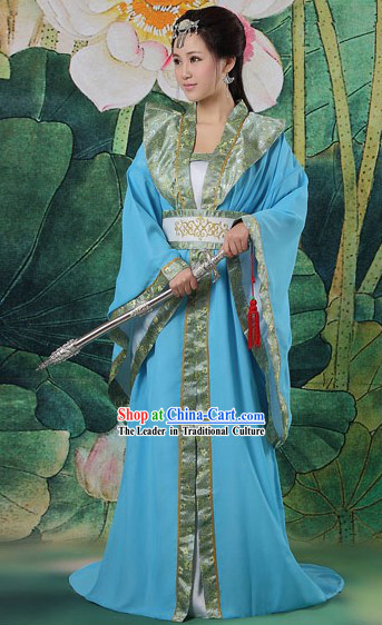 Ancient Chinese Blue Swordswoman Costumes Complete Set