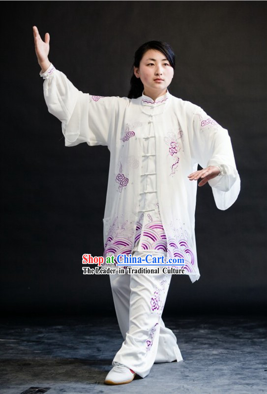 Whte Auspicious Cloud Embroidery Martial Arts Tai Chi Uniform for Women