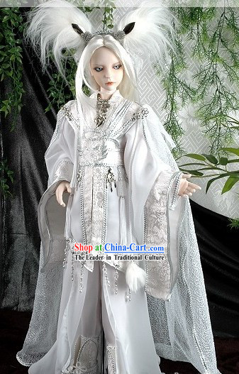 White Ancient Chinese Cosplay Costumes and Feather Accessories for Adults