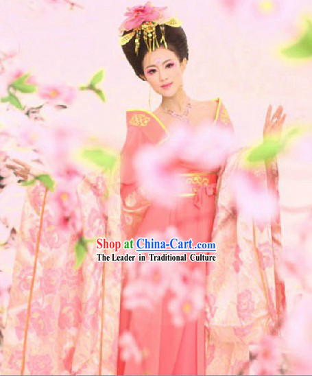 Ancient Chinese Tang Dynasty Imperial Princess Clothing and Hair Accessories Complete Set