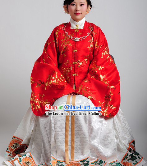 Ancient China Ming Time Red Wedding Jacket and Skirt for Ladies