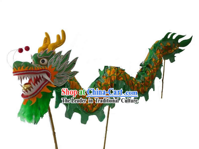 Traditional Chinese Shinning Green and Golden Dragon Dance Costumes for Three or Four Adults