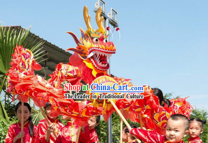 10 Meters Red Traditional Dragon Dance Costume for 9-10 Nursery School Kids