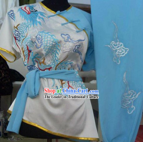 Short Sleeves Embroidered Dragon Kung Fu Shirt and Pants