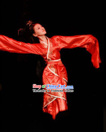 Traditional Red Chinese Classical Imperial Palace Dancing Costumes