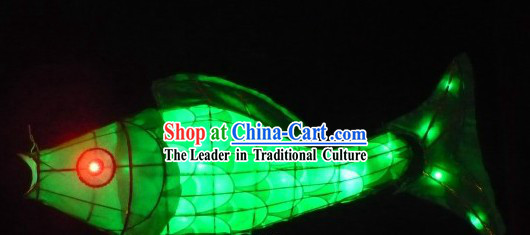 Traditional Green Chinese New Year Fish Carp Lantern for Display or Performance