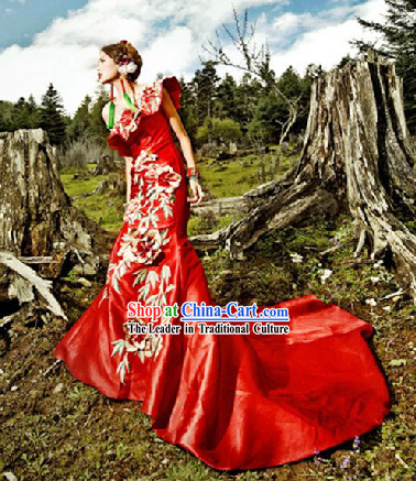 Lucky Red Embroidered Flower Fish Tail Long Toasting Evening Dress