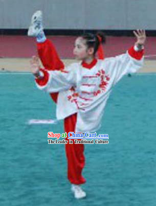 Traditional Chinese Silk Flower and Butterfly Embroidery Tai Chi Uniforms for Kids