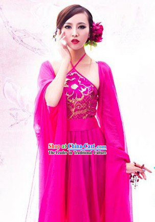 Chinese Sexy Red Sleeve Stage Performance Dance Costumes for Women