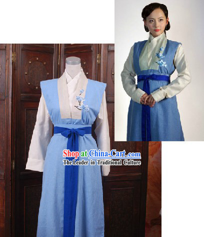 Ancient Chinese Ming Dynasty Qing Cheng Xue Embroidered Flower Han Fu Clothing for Women
