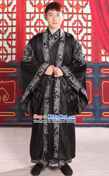 Traditional Chinese Black Dragon Robe for Men
