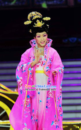 Drunkened Concubine High Collar Stage Performance Costumes and Wig