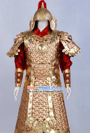 Huang Jin Jia Movie and Television Play General Armor Costumes and Helmet for Men
