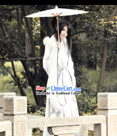 Ancient Chinese White Swordsman Costumes Complete Set