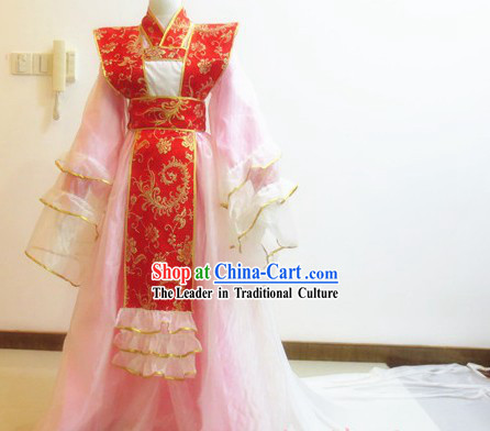 Ancient Chinese Pink Princess Cosplay Costumes with Long Trail