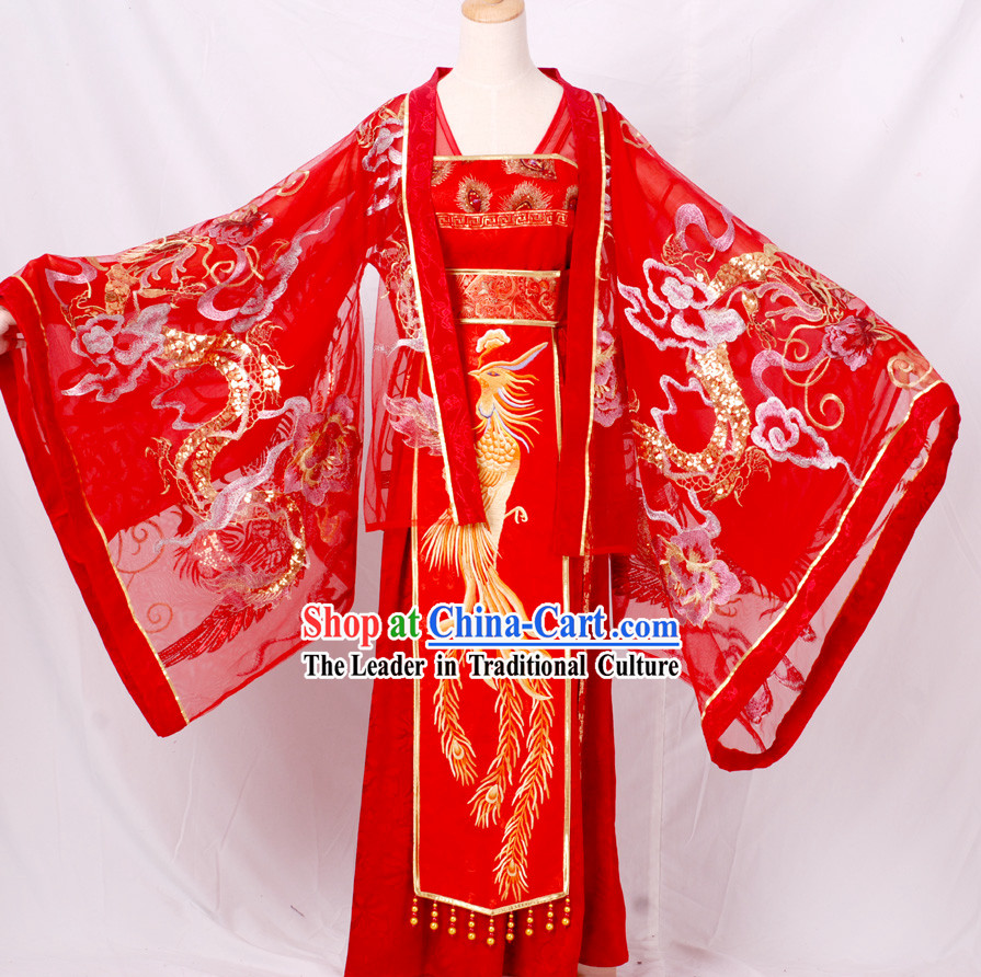 Ancient Traditional Chinese Han Dynasty Wedding Dresses Complete Set