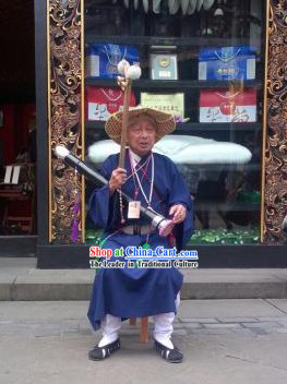 Traditional Chinese Legend Taoist Monk Costumes Robe and Hat