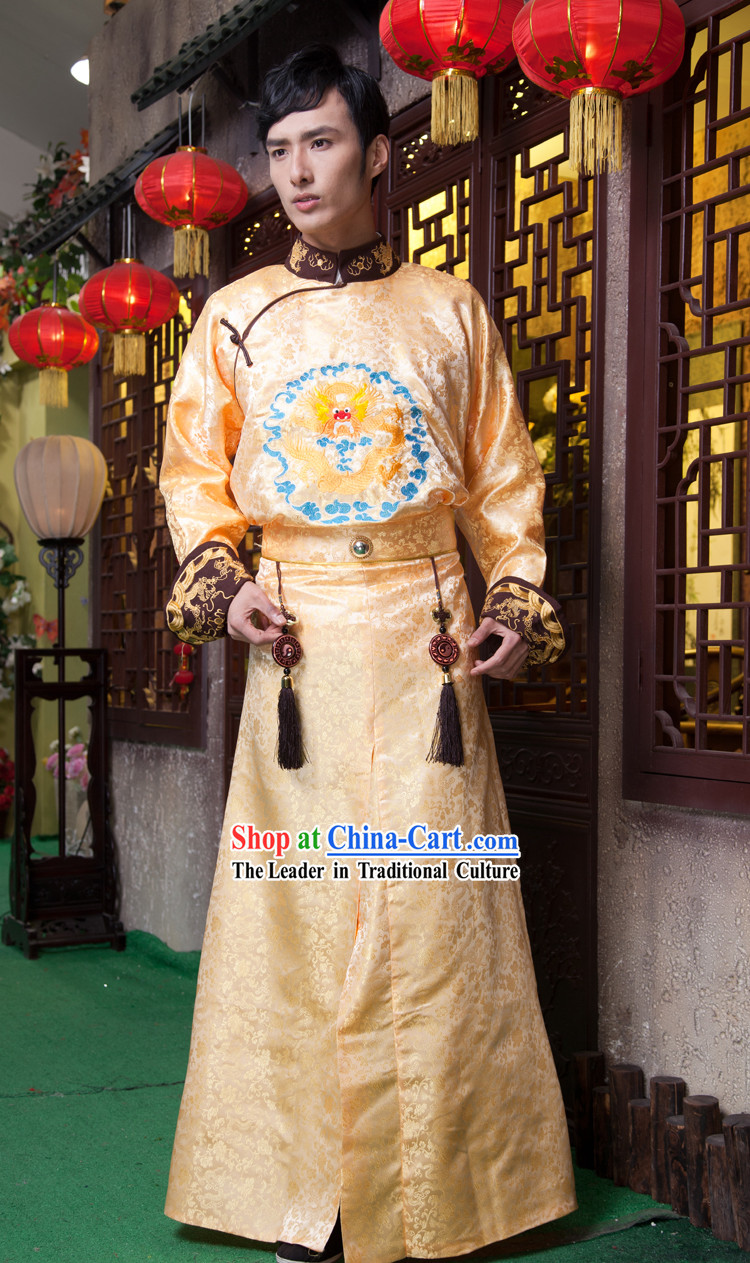 Traditional Ancient Chinese Emperor Dragon Embroidery Outfit for Men