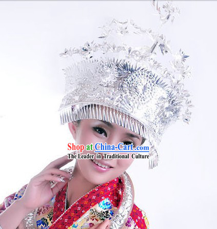 Traditional Hmong Miao Silver Crown for Women