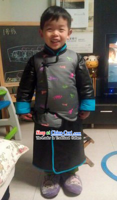 Chinese Classical Black Robe and Jacket for Kids