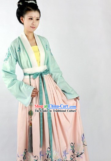 Traditional Ancient Chinese Tang Dynasty Embroidery Clothing Complete Set