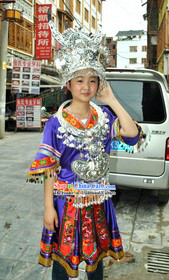 Blue Traditional Chinese Miao Silver Crown and Suit for Women
