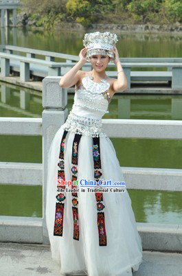 White Traditional Chinese Miao Silver Crown and Clothes