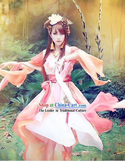 Pink and White Traditional Ancient Chinese Guzhuang Hanfu Fairy Clothing for Women