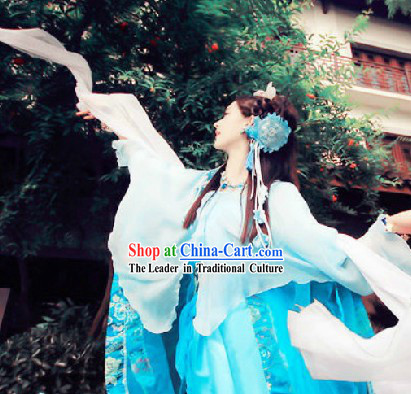 Traditional Chinese Stage Performance Fairy Dancing Costume and Headwear (10 colors are available)