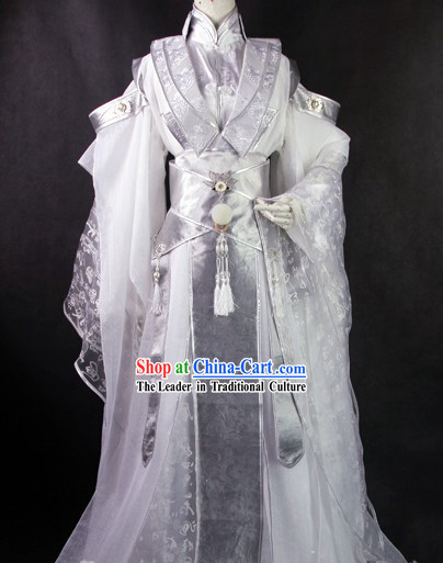 Ancient Chinese White Prince Clothes Complete Set for Men