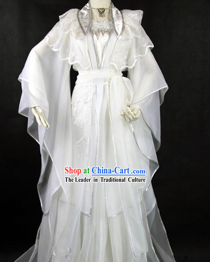 Ancient Chinese White Princess Cosplay Costume for Women