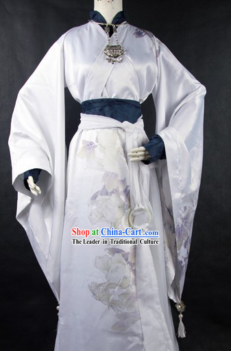 Ancient Chinese White Cosplay Robes for Men