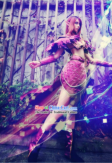 Purple Ancient Chinese Style Nymph Armor Cosplay Costumes for Women